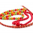 Handmade wooden necklace round colorful piece bead - Stock Photo