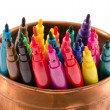 Colorful felt-tip pens copper bowl without caps — ストック写真