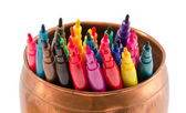 Colorful felt-tip pens copper bowl without caps — Stock Photo