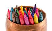 Colorful felt-tip pens copper bowl without caps — Stock Photo
