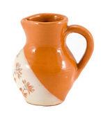 Barro velho jarro flor decoração isolada no branco — Foto Stock