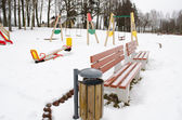 Recreate leisure zone park playground bench swing — Stock Photo