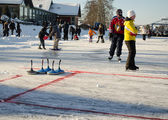 Play curling eisstock skate frozen lake ice — Stock Photo