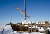Retro wooden ship frozen lake ice sail walk — Stock Photo