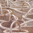 Wicker handmade wooden diy basket street market — Stock Photo