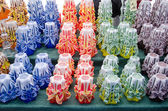 Colorful decor wax candle sell outdoor market fair — ストック写真