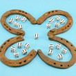 Clover retro horse shoes gamble dice six blue — Stock Photo
