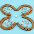Stock Photo: Clover retro horse shoes gamble dice six blue