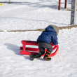 Boy with blue jacket knelt down to red sleigh — Stock Photo #27893387