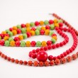 Stock Photo: Handmade wooden necklace round colorful piece bead
