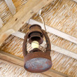 Old rusty lamp bower straw ceiling electric bulb — Stock Photo