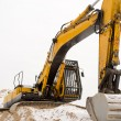 Excavator quarry sand pit snow winter industry — Stock Photo
