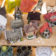 Stock Photo: Handmade decorative clay houses fair market event