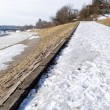 Stock Photo: Frosted walking trail along river cold winter day