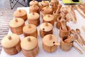 Wooden sugar basin spice mortar kitchen utensil — Stock Photo