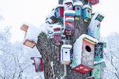 Decor birdhouse nesting box snow tree trunk winter — Stock Photo