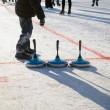 Eisstock curling toys tool people play winter game — Stock Photo #29794463