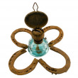 Stock Photo: Retro kerosene lamp clover rusty horse shoe white