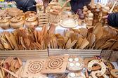 Handmade wooden kitchen utensil tools bazaar fair — Stock Photo