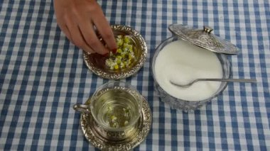 Chamomile herb cup sugar — Stock Video