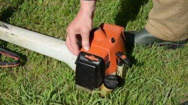 садовник начало триммер — Стоковое видео