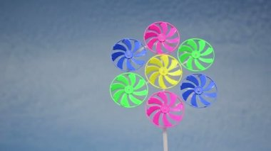 Colorful wind mill spin — Stock Video