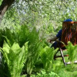 Tired gardener sit chair — Stock Video