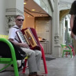 Old man play accordion — Stock Video