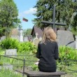 Stock Video: Soldier loss girl grave