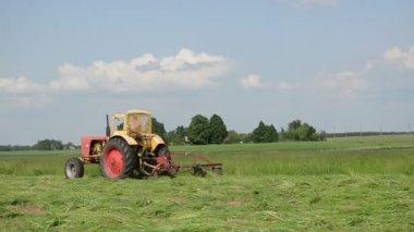 Traktor gräsklippning — Stockvideo
