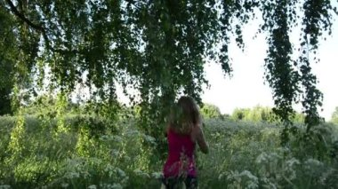 Meadow birch girl — Stock Video