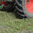 Stock Video: Tractor collect hay field