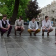 Chorus boys sing street — Stockvideo