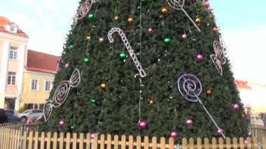 Decoração da árvore de natal — Vídeo stock