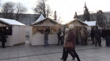 People winter market — Stock Video