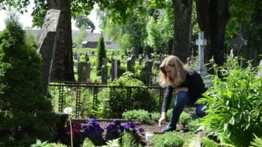 Woman loosen grave ground — Stock Video