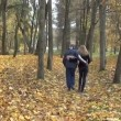 Couple hand autumn path — Stok Video #38149953