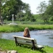 Stock Video: Girl admire nature