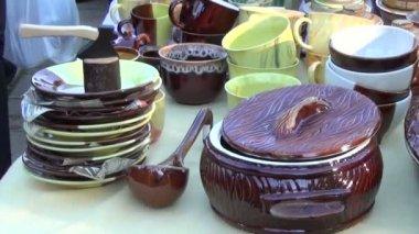 Stall ceramic produce — Stock Video