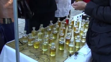 Bottles scent oil — Stockvideo