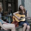 Girls play guitar sing — Stock Video