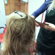 Stock Video: Parlour customer hair