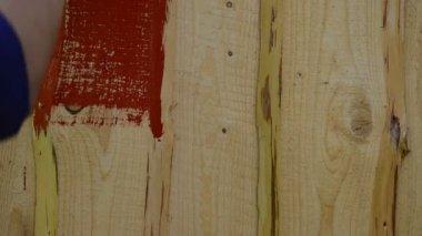 Hand brush paint wall — Stock Video