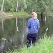 Fishing woman — Stock Video #42914255
