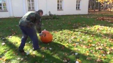 Man pumpkin roll meadow — Vídeo de stock