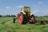 Tractor cut grass makes bend in meadow   — Stock Photo