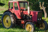 Rural red old farm tractor outdoor  — Stock Photo