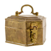 Antique brass coffret with lock isolated on white   — Zdjęcie stockowe
