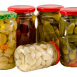 Set jars of pickled vegetables for winter resource — Zdjęcie stockowe