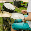 Musical drums cymbals hand with wooden sticks drum — Stock Photo #46961347